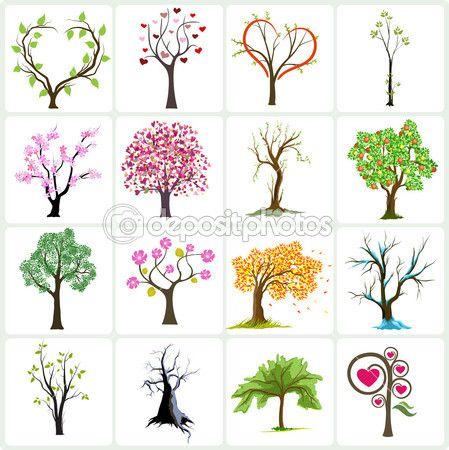 Grande coleção de árvores abstratas — Ilustração de Stock #1142616
