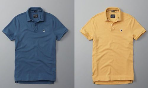 NWT-Abercrombie-amp-Fitch-Men-039-s-Muscle-Fit-Icon-Polo-Blue-Yellow-Color-Size-XS