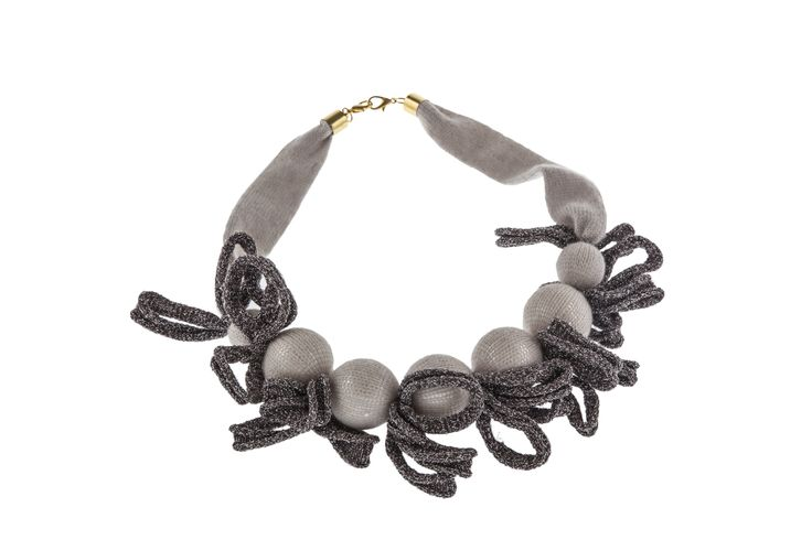 Knitted nacklace with sphere & lurex details in extrafine merinos & cashmere #necklace #knitted necklace #cashmere #merinos Follow on www.cavagan.it