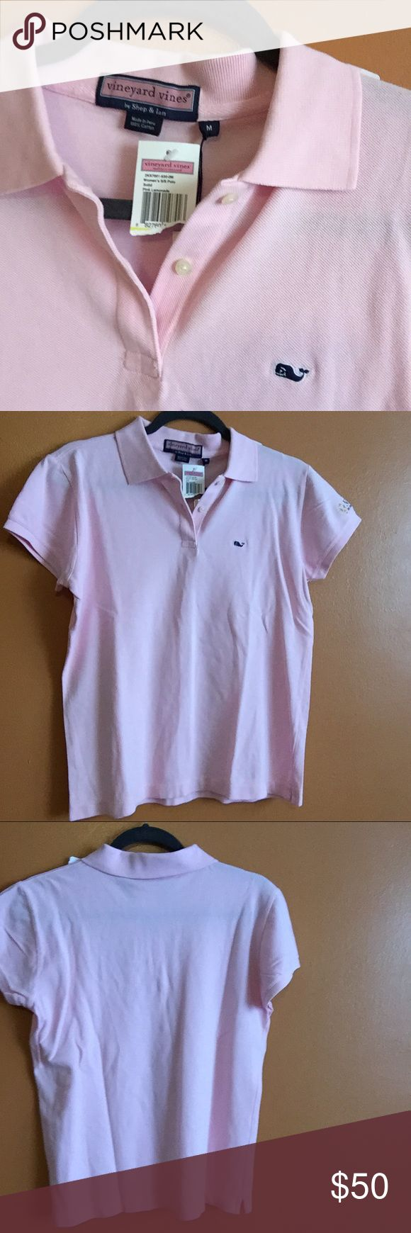 😱1 hour sale😱 vineyard vines • pink polo New with tags.   - classic cotton pink polo with whale logo - New York Mercantile Exchange logo on left sleeve  negotiable, feel free to make a reasonable offer.   thanks for stopping by. Vineyard Vines Tops