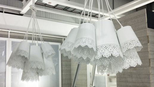 How cute would these ikea hacked chandeliers look in a nursery - made from SKURAR planters (a bunch of them) and the hemma cords!