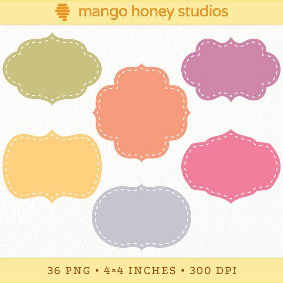 Digital Label Clip Art, Retro Label Shapes, Stitched Bracket Labels, Printable Scrapbooking Tags, Blue, Green, Orange, Purple, Pink, Yellow