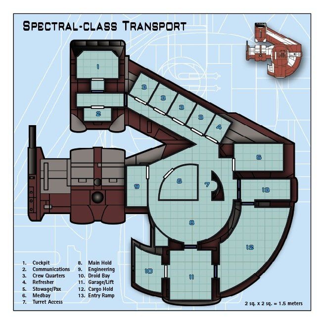 (1) Jim Minard - Spectral-class Transport. Here is my first attempt at a completed starship deck plan (derived from an artist concept illustration of the original Ebon Hawk from Knights of the Old Republic video game.)