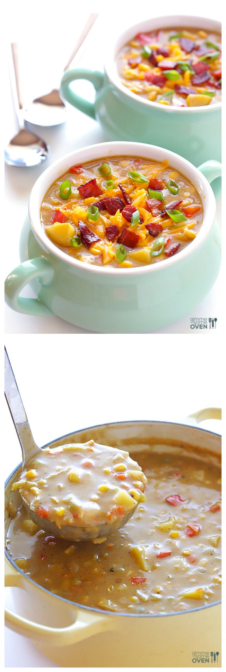 Bacon Corn Chowder -- made with fresh or canned corn, and so comforting and delicious | gimmesomeoven.com #soup #recipe