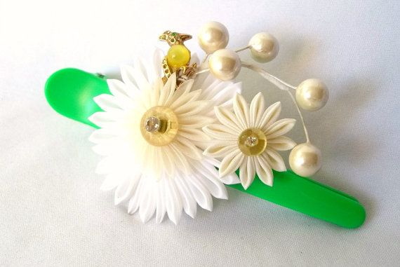 Kanzashi Hair Flower Clip with Bird by ScarlettandMaria on Etsy, $30.00