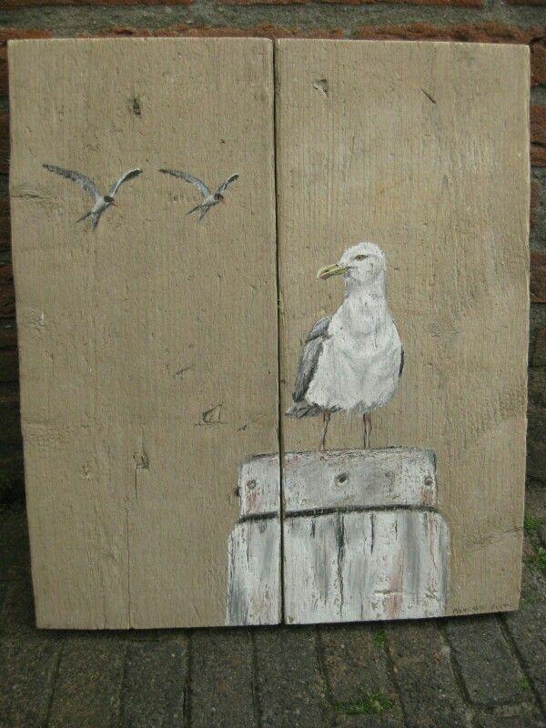 Tekening op hout. Meeuw voor J .Harbers    kijk ook bij mijn andere tekening op hout.. D.Leusink