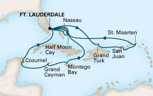 C7X17H-17-DAAGSE COLLECTORSVAKANTIE NAAR DE BAHAMA'S / OOSTELIJKE /WESTELIJKE CARIBBEAN vaarroutekaart, verwijs naar de pagina met cruiseinformatie voor de lijst met havennamen