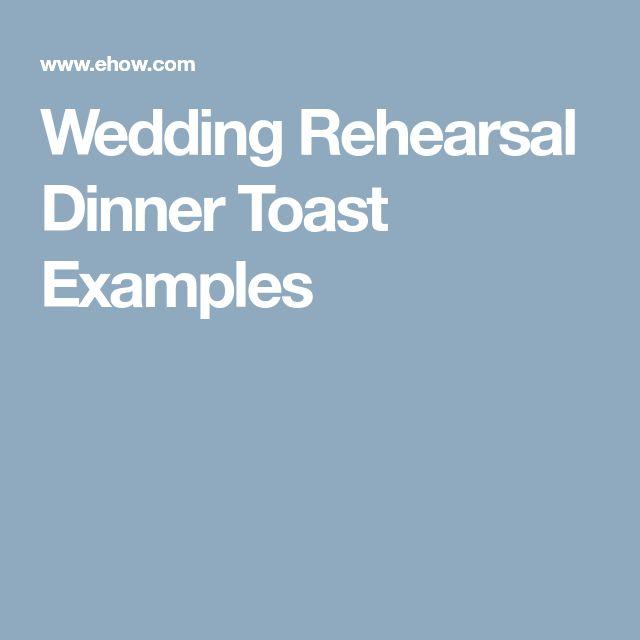 Wedding Rehearsal Dinner Toast Examples
