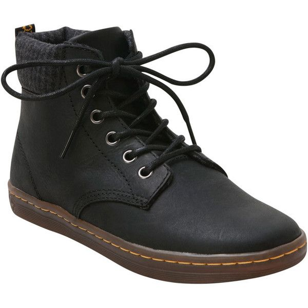 Dr. Martens Women's Black Maelly Boot ($60) ❤ liked on Polyvore featuring shoes, boots, sneakers, black, lacing hiking boots, black high top shoes, rubber sole boots, black laced boots and black hiking boots
