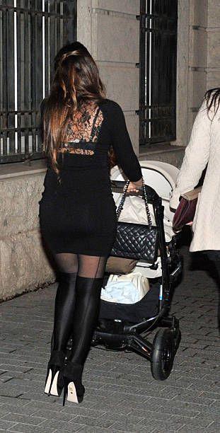 Leo Messi's girlfriend Antonella Rocuzzo and son Thiago Messi are seen on March 13 2013 in Barcelona Spain