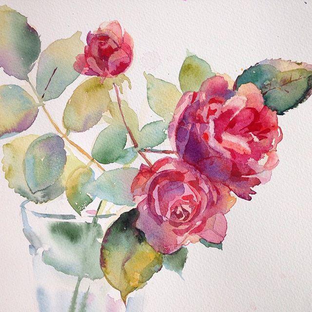 #розы, #watercolor, #цветы #акварель #flowers #painting, #roses