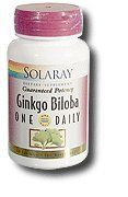Solaray One Daily Ginkgo Biloba 60 Capsules 120 mg by Solaray. Save 34 Off!. $26.97. Solaray - One Daily Ginkgo Biloba 120mg - 60ct Cap. One Daily Ginkgo Biloba by Solaray 60 Capsule Size 60ct 120mg Directions As a dietary supplement take 1 capsule daily with a meal or a glass of water. Serving Size 1 Capsule 60 Servings per container Ingredients Amount per serving Daily Value + Ginkgo (Ginkgo biloba) (50 1) (leaf extract) (Guaranteed 28.8 mg (24 ) ginkgo flavoglycosides and 7.2 mg (6 )…
