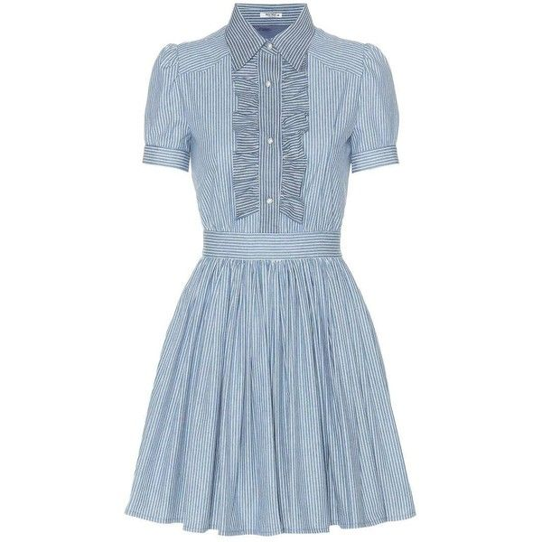 Miu Miu Striped Cotton Dress ($1,900) ❤ liked on Polyvore featuring dresses, miu miu, vestido, vestiti, blue, striped dress, short cotton dress, cotton stripe dress and cotton day dresses