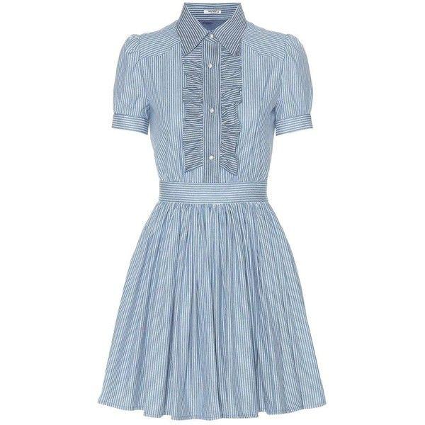 Miu Miu Striped Cotton Dress (1,895 CAD) ❤ liked on Polyvore featuring dresses, blue, cotton day dresses, miu miu, striped cotton dress, stripe dresses and blue stripe dress