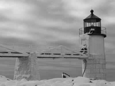 Marshall Point Lighthouse  The sky and taking it in black and white give a surreal look.  Credit: PhotosByPflanz