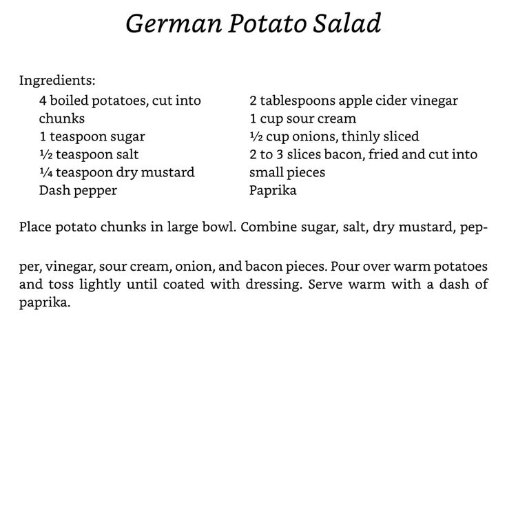 German Potato Salad from Wanda Brunstetter's Amish Cooking Class Series