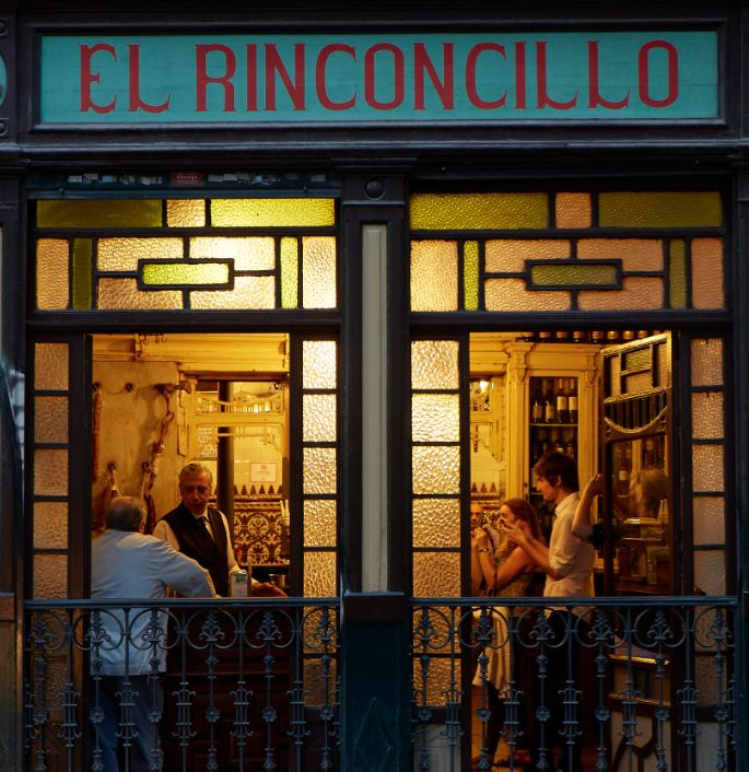 The exterior of El Rinconcillo, the oldest tavern in Seville, dating from 1670.