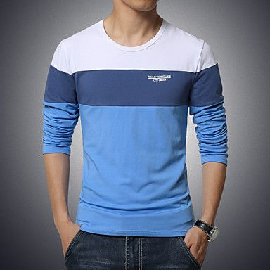 Langærmet+Ensfarvet+Mænds+T-shirt+Fritid+/+Sport+/+Plusstørrelse+Bomuld+/+Spandex+–+DKK+kr.+106