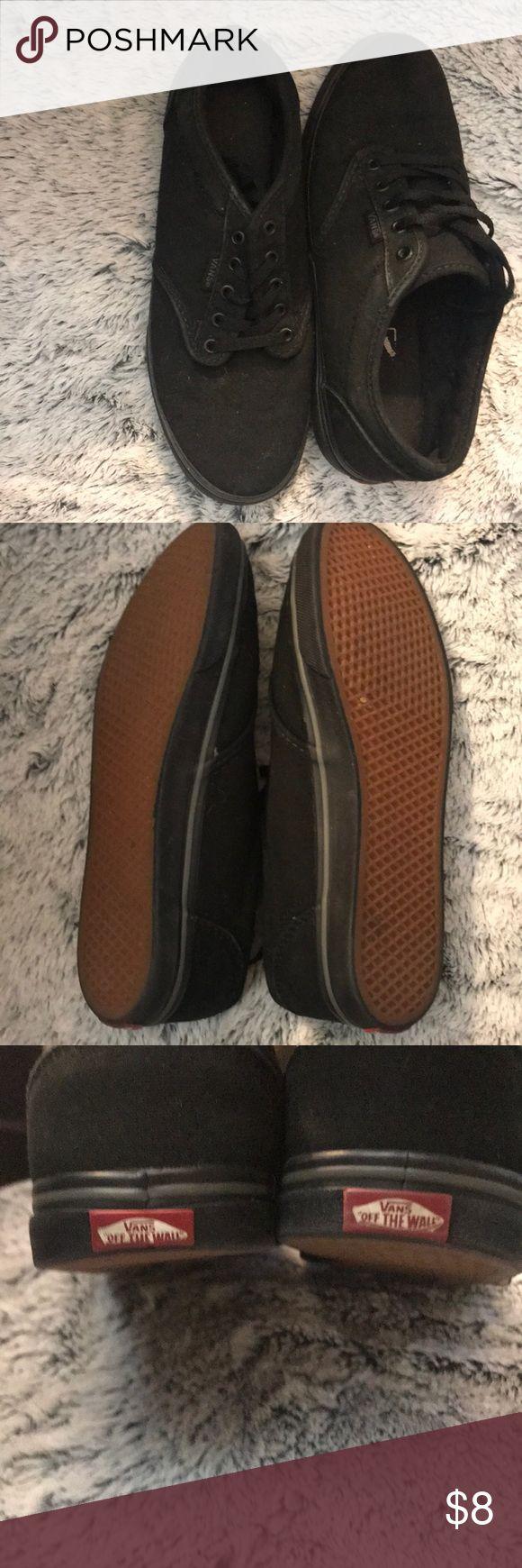 Black vans Plain black vans gently used Vans Shoes Sneakers