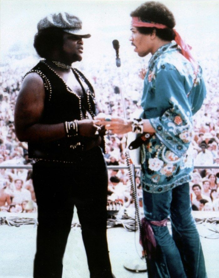 Buddy Miles and Jimi Hendrix, Woodstock, 1969.   Buddy Miles was as awesome as Jimi Hendrix, in my book...