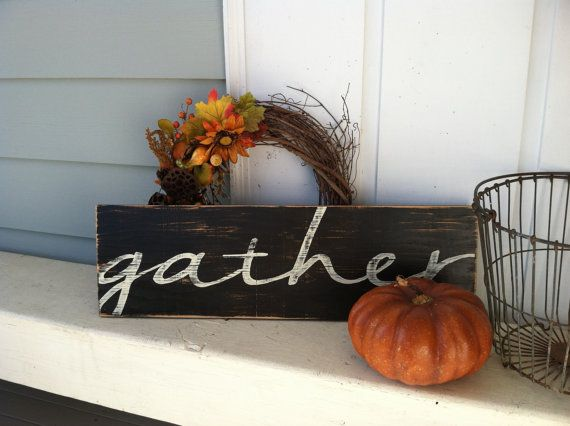 GATHER - 9x30 Hand Painted Wooden Sign - Black Distressed Fall Harvest Decor