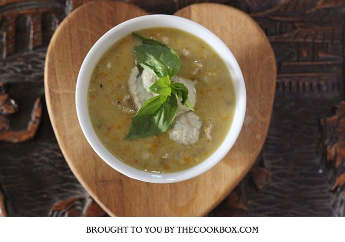 Old Fashion Chicken Soup with Basil and Vegetable Puree