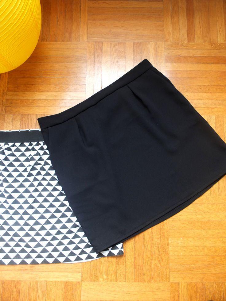 """Mini jupe """"crêpe noire"""" / Taille S36 : Jupe par jaune-cocotte"""