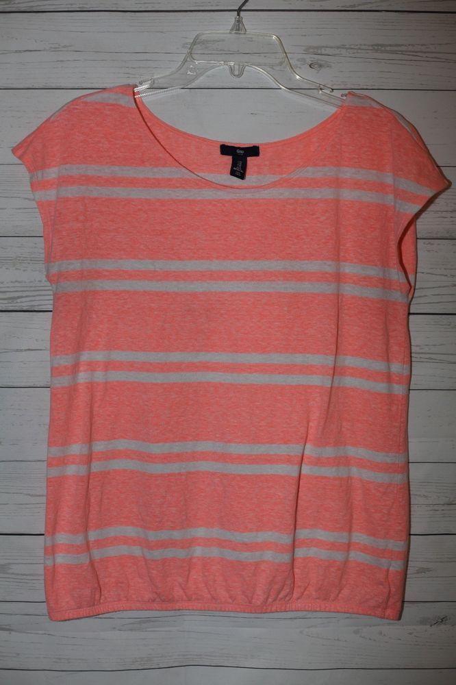 981855f2 Women's Gap Neon Pink White Striped Knit Top Shirt Bubble Hem Size Medium  #Gap #KnitTop | Must have tops! | Striped knit, Tops, Mens tops