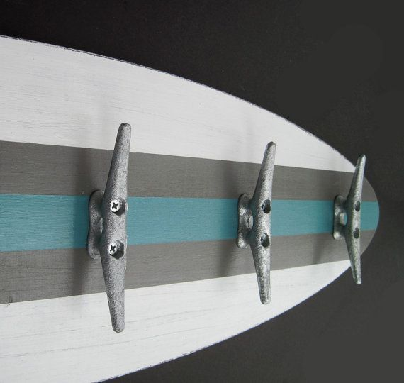 3 Ft Surfboard Coat Rack with 5 Boat Cleats by ProjectCottage, $99.00