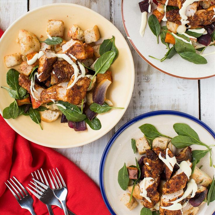 Cajun Chicken and Roast Vegetables with Aioli and Croutons