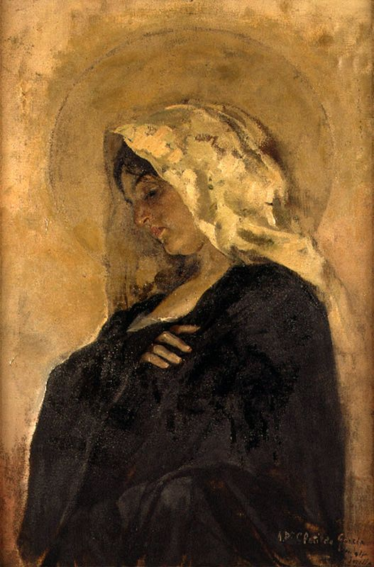 Joaquín Sorolla y Bastida, Valencian: Joaquim Sorolla i Bastida, (27Feb1863-10Aug1923), a Valencian Spanish painter. | Virgin Mary, 1887, oil on canvas, Museo de Bellas Artes de Valencia en su Historia, Valencia, Spain.