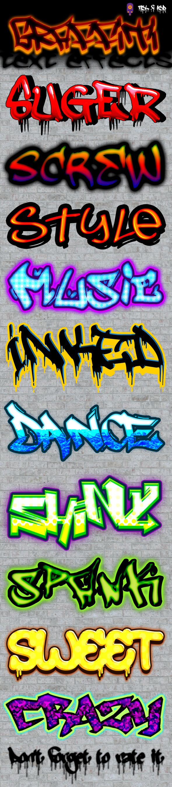 Graffiti Text Effects by Noctilucous 10 Graffiti text effects that can be used in logo, banners, flyers, websites, brochure or any kind of decoration purpose. Features