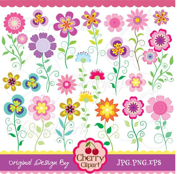 Vintage flowers digital clipart set for Personal by Cherryclipart, $5.00