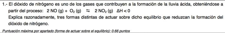 Ejercicio 1,P2, JUNIO 2011-2012. Examen PAU de Química de Canarias. Tema: equilibrio.