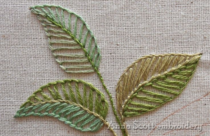 Anna scott blanket stitch leaves hand embroidery