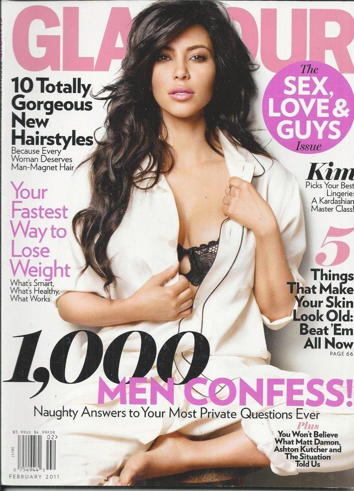 Glamour magazine Kim Kardashian Weight loss Hairstyles 1000 men confessions