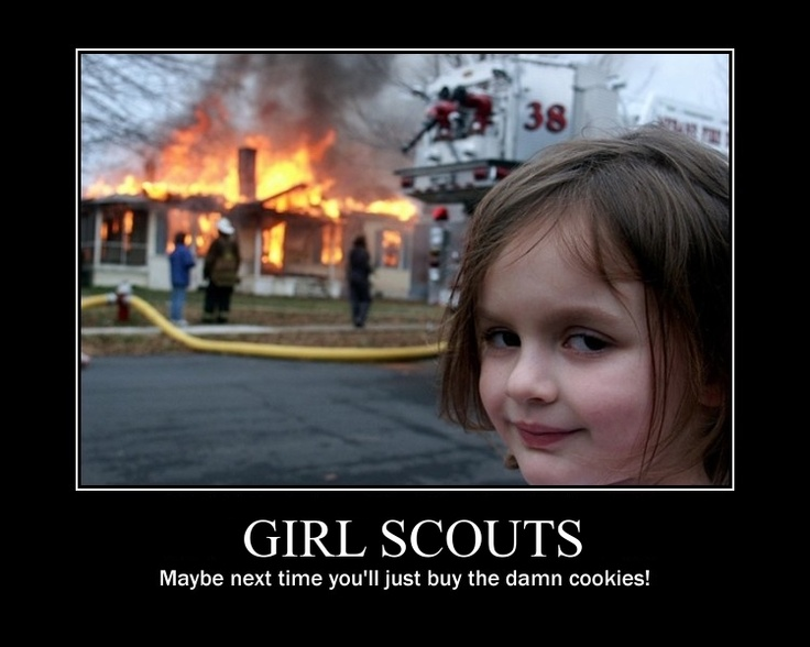 GIRL SCOUTS.  Maybe next time you'll just buy the damn cookies!