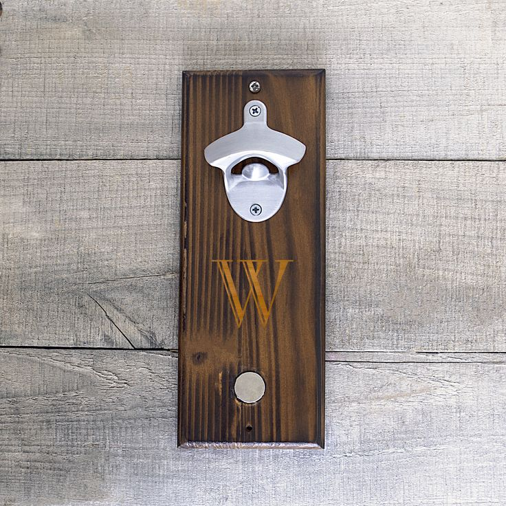 Wall mounted bottle opener with personalization. http://www.overstock.com/10576357/product.html?CID=245307