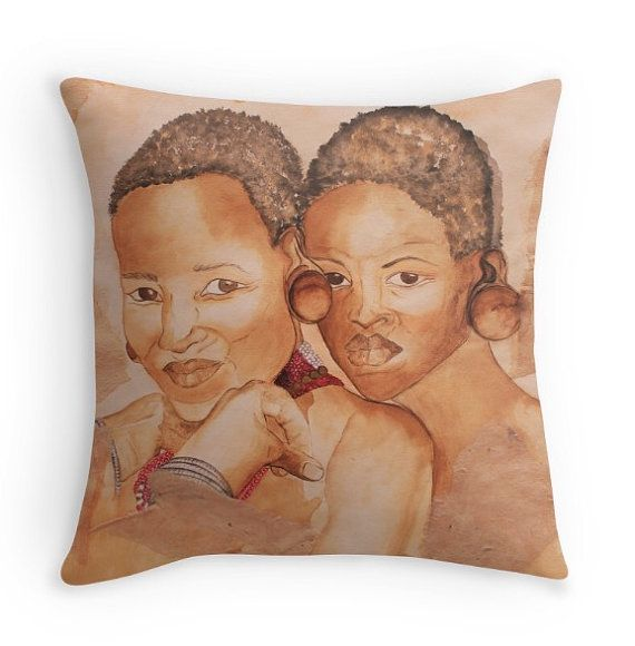 Zulu girls  Original artwork Throw Cushion by ArtatKarens on Etsy