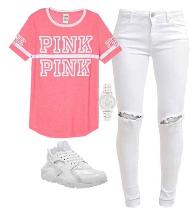 """""""Untitled #191"""" by cierrahenry01 ❤ liked on Polyvore featuring FiveUnits, Victoria's Secret PINK, NIKE and Forever New"""