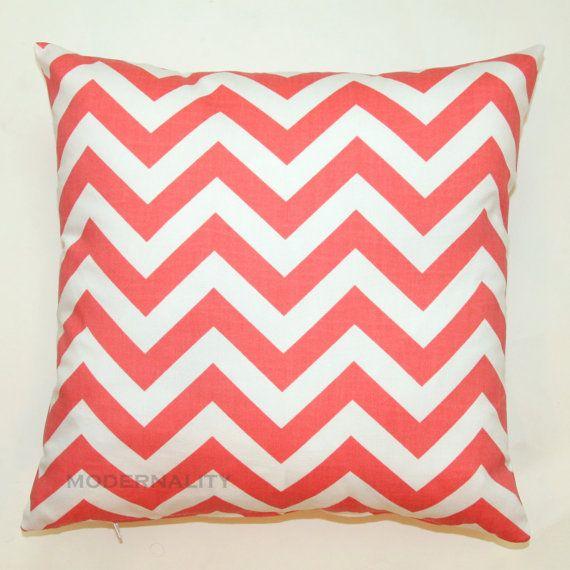 SUMMER SALE- Premier Prints Coral Chevron Pillow Cover- 16x16 inches- Hidden Zipper Closure. $14.95, via Etsy.
