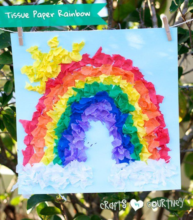 "How-to Craft a ""What Makes a Rainbow?"" Inspired Tissue Paper Rainbow"