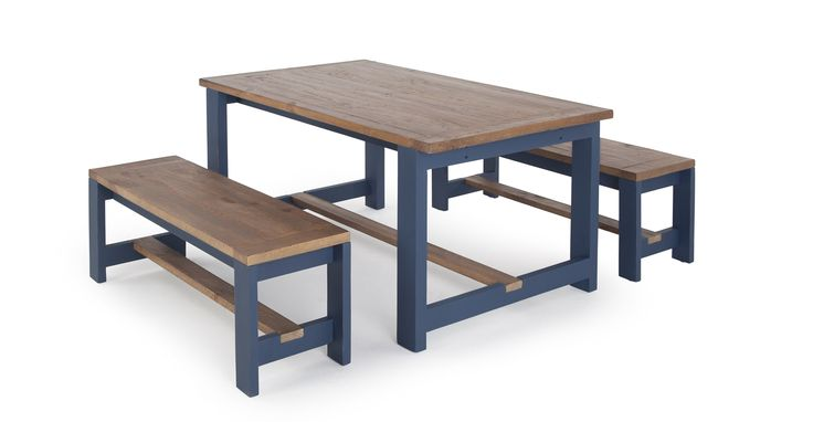 Bala Table and Bench Set, Solid Wood and Blue