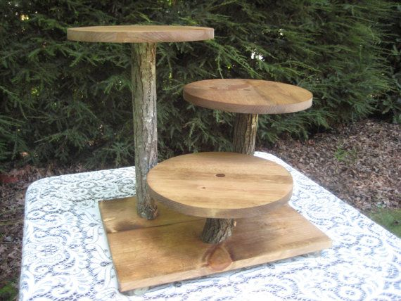 Rustic Wedding Cake Stand Cupcake Log Slice Stand
