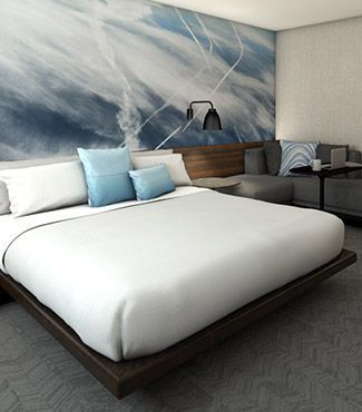 Stylish Newark Liberty International Airport Marriott platform bed & guest room | Link to hotel page