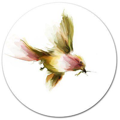 "DesignArt Nice Flight of Lovely Green Bird Oil Painting Print on Metal Size: 23"" H x 23"" W x 1"" D"