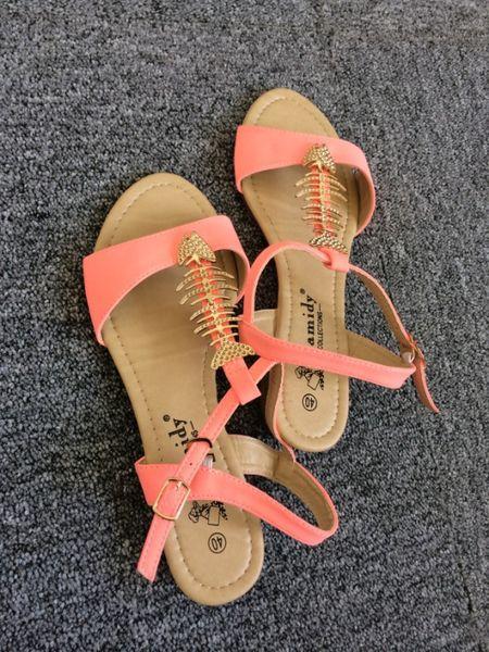 Экспорт сои большой размер обуви удобные плоские коралловые розовые сандалии 36-41 ярдов