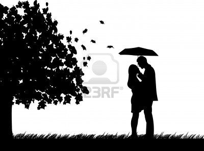 Background with couple with umbrella under the tree in autumn or fall silhouette, one in the series of similar images Stock Photo    Possibility for melted crayon art?