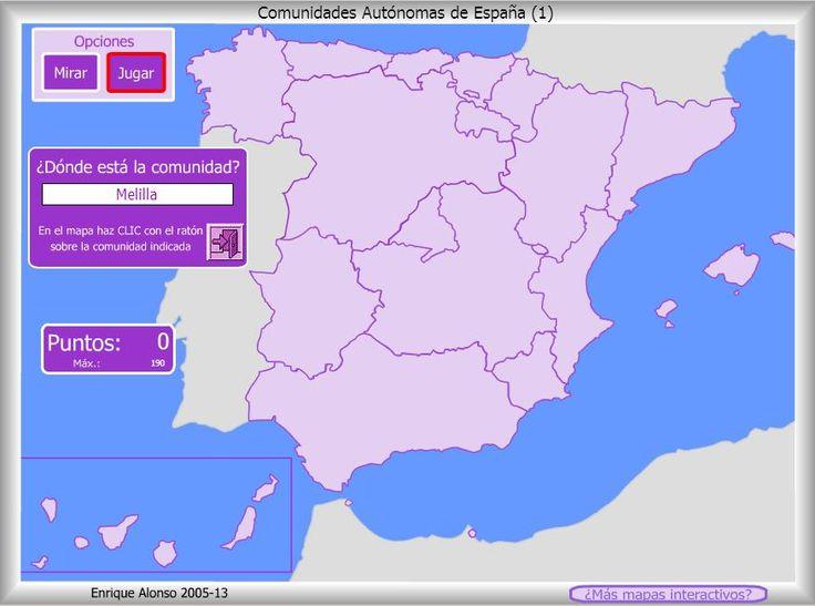 Mapa interactivo de España Comunidades autónomas. ¿Dónde está? Enrique Alonso - Mapas Interactivos