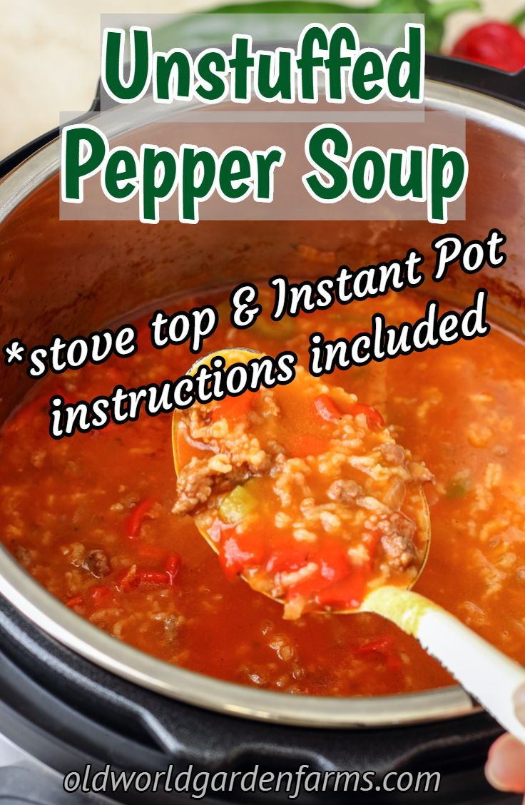 Zesty Pepper Soup Recipe Stuffed Peppers Stuffed Pepper Soup Food Recipes